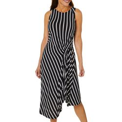 Robbie Bee Womens Striped Asymmetrical Hem Sleeveless Dress