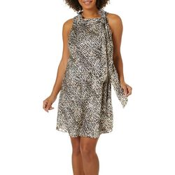 Robbie Bee Womens Leopard Lurex Tie Neck Swing Dress