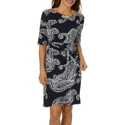 Robbie Bee Womens Paisley Puff Print Faux Wrap Dress