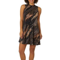 Robbie Bee Womens Mixed Animal Geo Print Sleeveless Dress