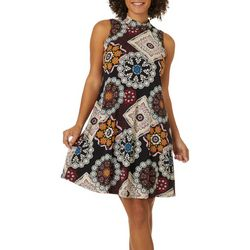 Robbie Bee Womens Geometric Puff Print Sleeveless Dress