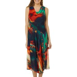 Robbie Bee Womens Brushstroke Cowl Neck Sleeveless Dress