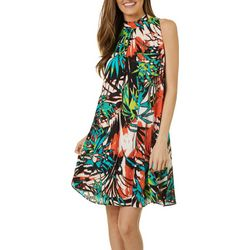 Robbie Bee Womens Palm Leaf Print Tie Neck Swing Dress