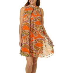 Robbie Bee Womens Paisley Print High Neck Swing Dress