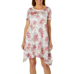 Robbie Bee Womens Floral Lace Sharkbite Hem Dress