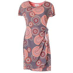 Robbie Bee Womens Circle Puff Print Faux Wrap Dress