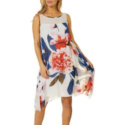 Robbie Bee Womens Floral Hankerchief Swing Dress