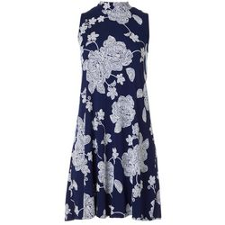 Robbie Bee Womens Floral Puff Print Sleeveless Dress