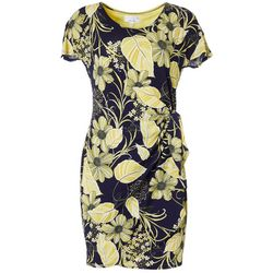 Robbie Bee Womens Floral Puff Print Faux Wrap Dress