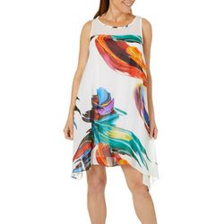 Robbie Bee Womens Marbled Paint Sharkbite Hem Sundress