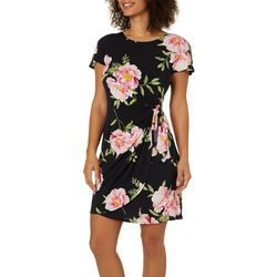 Robbie Bee Womens Floral Puff Print Faux-Wrap Dress