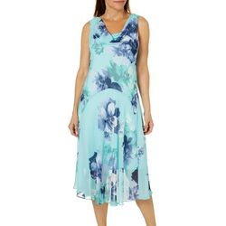 Robbie Bee Womens Floral Cowl Neck Sundress