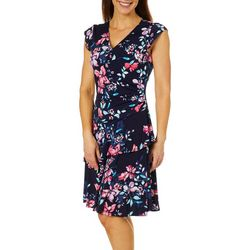 Robbie Bee Womens Floral Print Faux-Wrap Sundress
