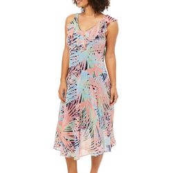 Robbie Bee Womens Palm Print Ruffle Neck Sundress