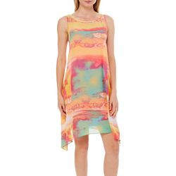 Robbie Bee Womens Chiffon Sheer Overlay Dress