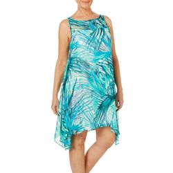 Robbie Bee Womens Tropical Palm Sharkbite Hem Sundress