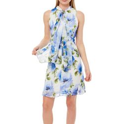 Robbie Bee Womens Tie Neck Floral Dress