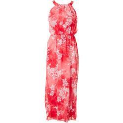 Womens Floral Puffed Chiffon Dress