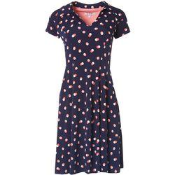 Robbie Bee Womens Collared Dot Dress