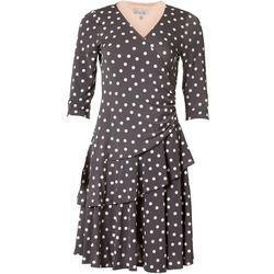 Robbie Bee Womens Dot Embellished Wrap Dress