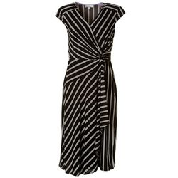 Robbie Bee Striped Wrapped Front Dress