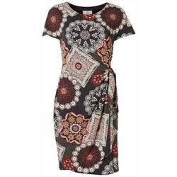 Textured Print Side Tie Dress