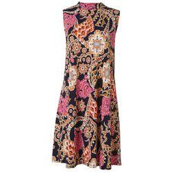 Robbie Bee Womens Printed Tie Neck Swing Dress