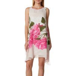 Robbie Bee Womens Rose Print Sharkbite Hem Sundress