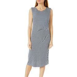 Bobeau Womens Stripe Sleeveless Side Twist  Dress