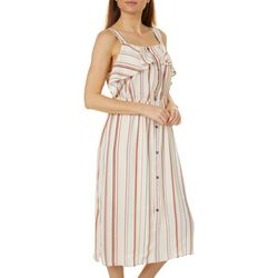 Bobeau Womens Stripe Button Down Sleeveless Dress