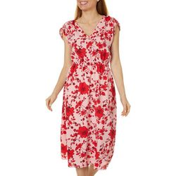Bobeau Womens Floral Surplice Woven Dress