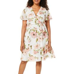Tacera Womens Belted Floral Faux-Wrap Dress