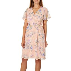 Tacera Womens Floral Faux-Wrap Sundress