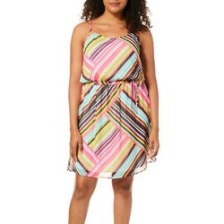 Tacera Womens Mixed Stripe Tie Waist Sundress