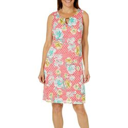 Tacera Womens Dotted Floral Lace Keyhole Dress