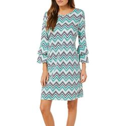 Tacera Womens Bright Chevron Bell Sleeve Dress