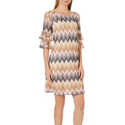 Tacera Womens Chevron Ruffle Sleeve Shift Dress
