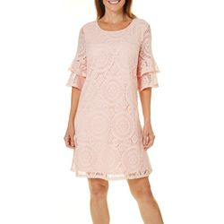 Tacera Womens Lace Ruffle Sleeve Dress