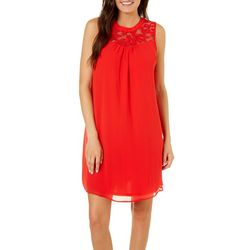 Tacera Womens Solid Lace Neck Shift Dress