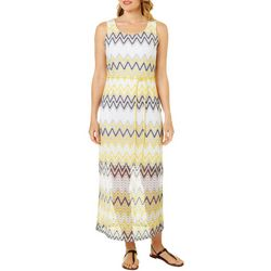 Tacera Womens Belted Chevron Print Maxi Dress