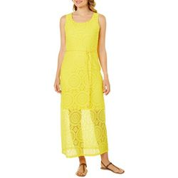 Tacera Womens Belted Lace Medallion Maxi Dress
