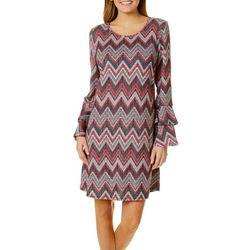 Tacera Womens Chevron Print Bell Sleeve Dress