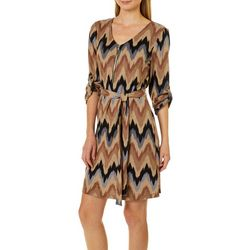 Tacera Womens Belted Brushstroke Chevron Dress