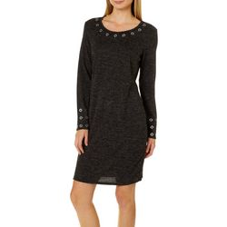 Tacera Womens Heathered Grommet Sweater Dress