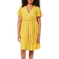Tacera Womens Dot Print Tie Waist Flutter Sleeve Dress