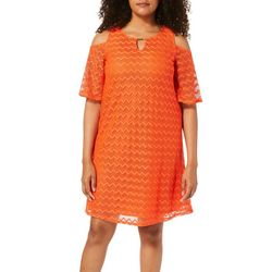 Tacera Womens Chevron Crochet Overlay Cold Shoulder Dress