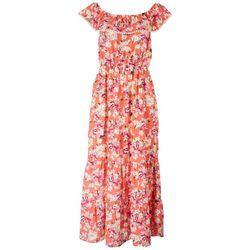 Cure Apparel Womens Floral Shoulder Maxi Dress