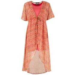 Cure Apparel Womens Printed Cafta & Solid Tank Dress