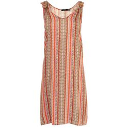 Cure Apparel Womens Floral Stripes Sleeveless Dress