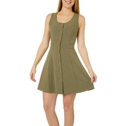 Everly Womens Button Down Swing Dress